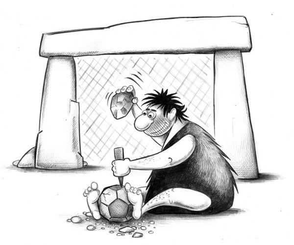 Карикатура: Футбол каменного века, Сергей Корсун