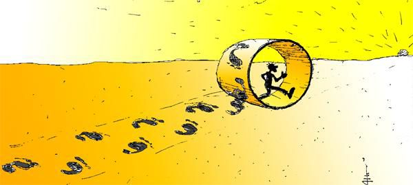 Карикатура: Странные следы, Юрий Санников