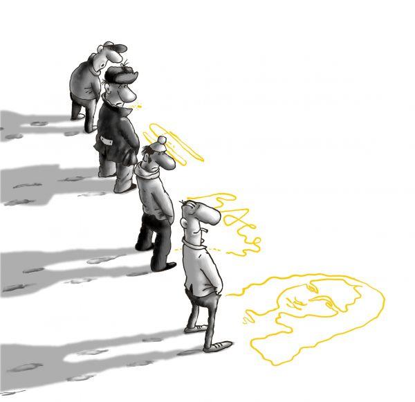 Карикатура: первый снег, Ануфриев