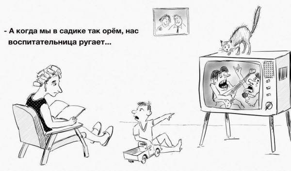 Карикатура: Телевизор, Владимир Силантьев