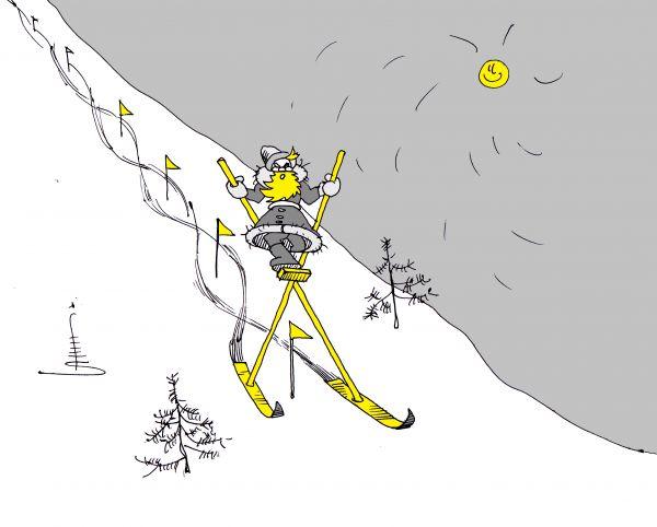 Карикатура: Новогодний  слалом, Юрий Санников
