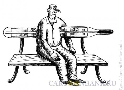 Карикатура: скамья с градусником, Гурский Аркадий