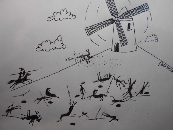 Карикатура: Атака дон Кихота, Петров Александр