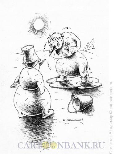 Карикатура: Влюбленный снеговик, Степанов Владимир