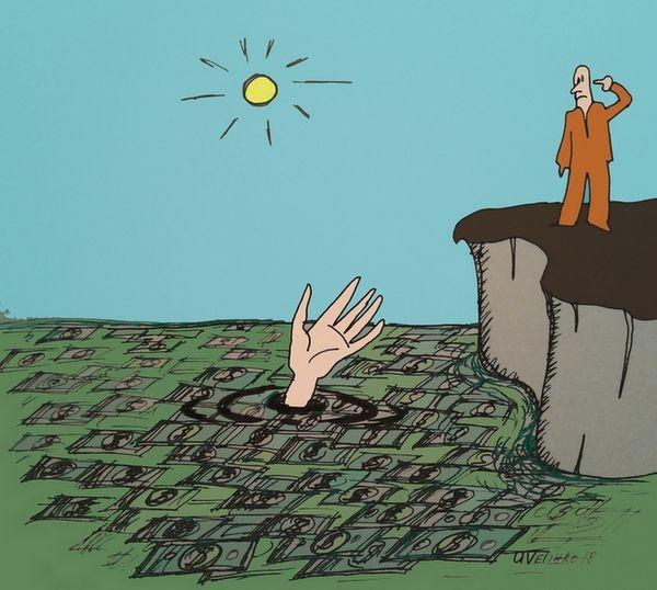 Карикатура: Рука утопающего, Величко Юрий