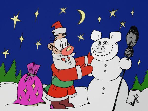 Карикатура: Снегосвин, Величко Юрий