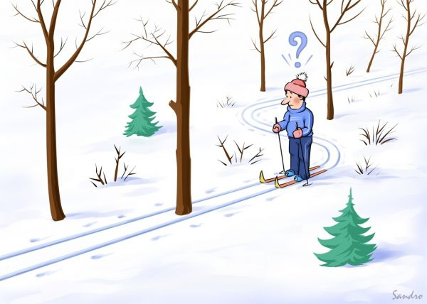 Карикатура: Лыжня, Сандро