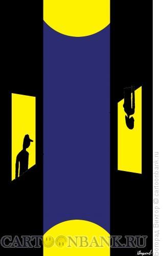 Карикатура: Ночные окна, Богорад Виктор