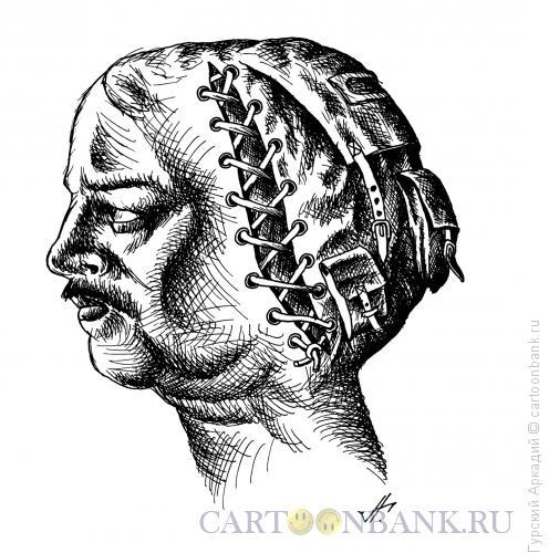 Карикатура: голова-рюкзак, Гурский Аркадий
