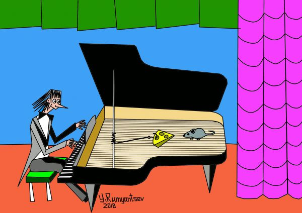 Карикатура: Музыкальная мышеловка., Юрий Румянцев