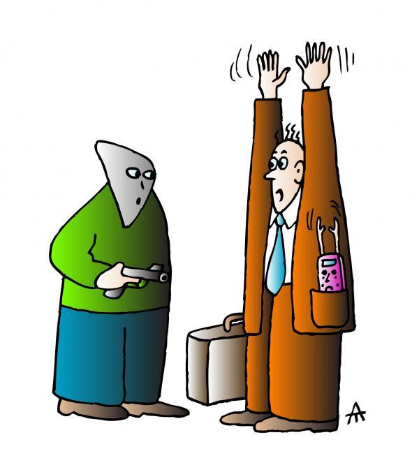 Карикатура: Человек с мобильником, Алексей Талимонов
