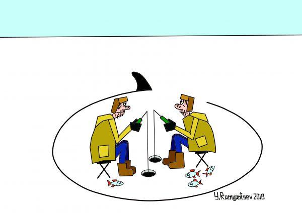 Карикатура: По тонкому льду., Юрий Румянцев