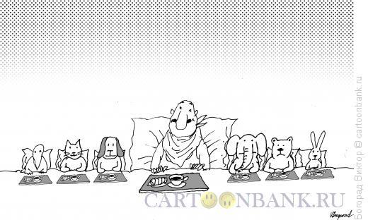 Карикатура: Завтрак в постели с игрушками, Богорад Виктор
