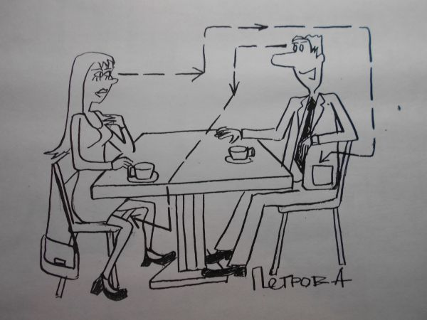 Карикатура: Женщина и мужчина, Петров Александр