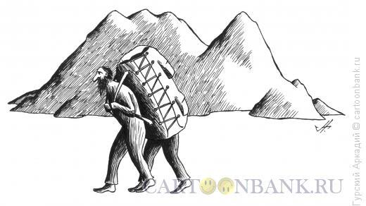 Карикатура: турист с рюкзаком, Гурский Аркадий