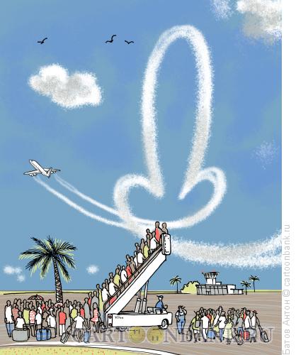 Карикатура: отмена рейсов (...взмахну серебряным тебе крылом...), Батов Антон