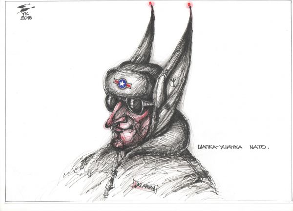 Карикатура: Шапка - ушанка NATO . Уши - встроенная радиостанция ., Юрий Косарев