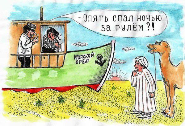 Карикатура: Уснул за рулем, Зеркаль Николай Фомич