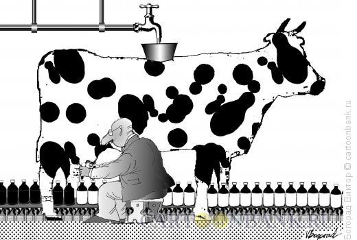 Карикатура: Конвейерная дойка, Богорад Виктор