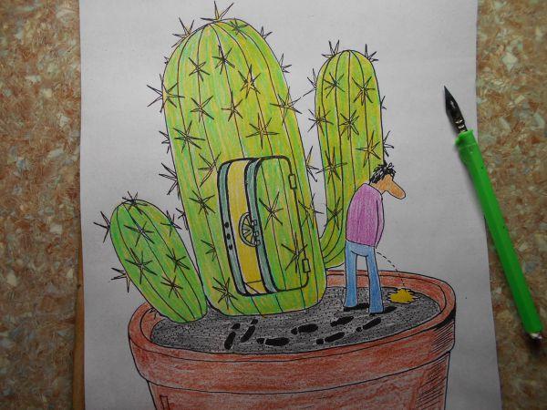 Карикатура: Кактус, петров Александр