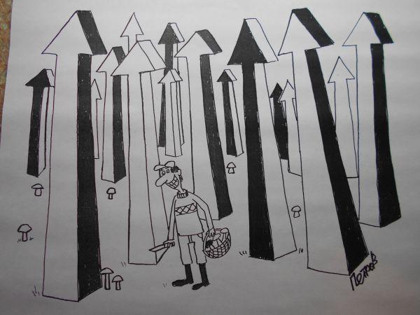 Карикатура: Стрелки и грибы, Петров Александр