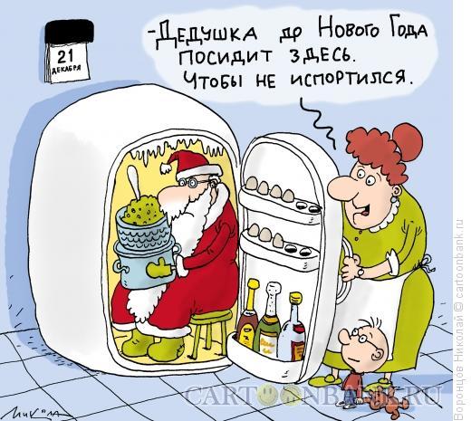 Карикатура: Дед Мороз в холодильнике, Воронцов Николай