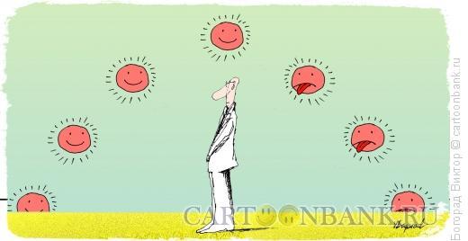 Карикатура: Человек и солнце, Богорад Виктор
