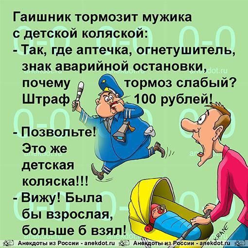 Анекдот: Гаишник тормозит мужика с детской коляской..., Евгений Кран