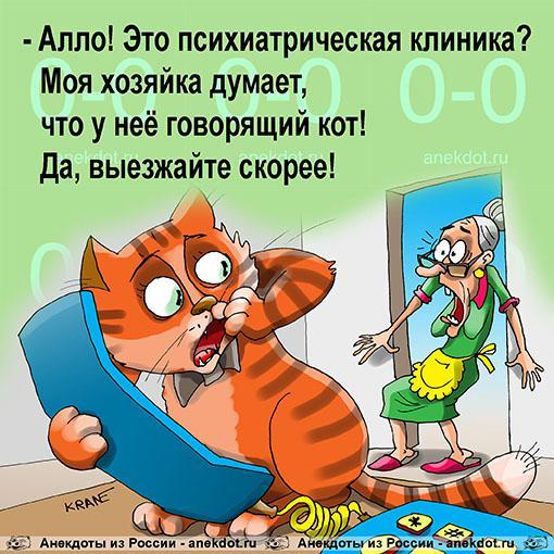 Анекдот: Моя хозяйка думает, что у нее говорящий кот, Евгений Кран