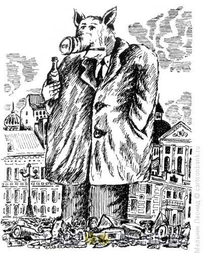 Карикатура: Свин, Мельник Леонид