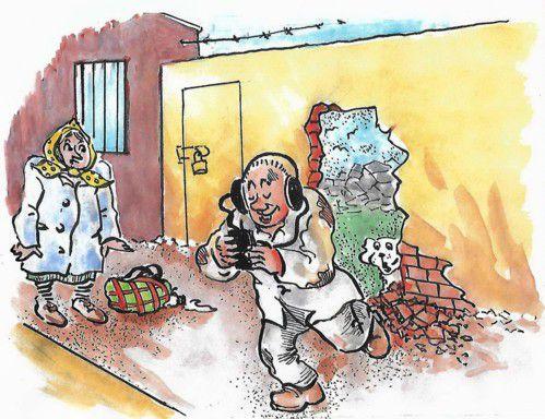 Карикатура: Увлекся!, Зеркаль Николай Фомич