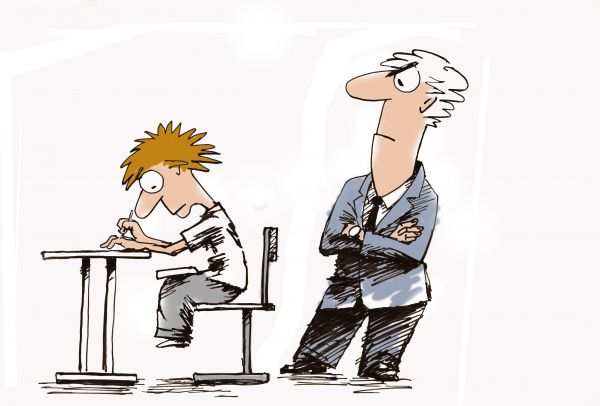 Карикатура: Первая шпаргалка