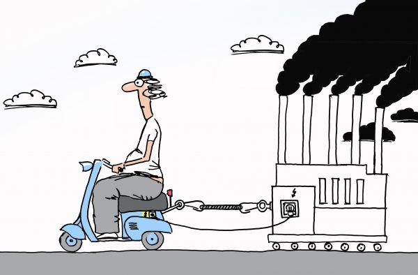 Карикатура: Электроскутер и экология, osipovva