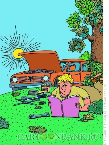 Карикатура: Знай, брат, и люби свой автомобиль, Мельник Леонид
