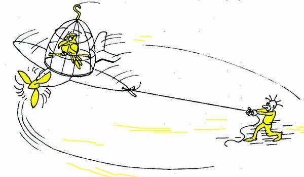 Карикатура: На прогулке, Юрий Санников