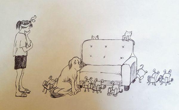 Карикатура: однажды утром у меня дома, КП