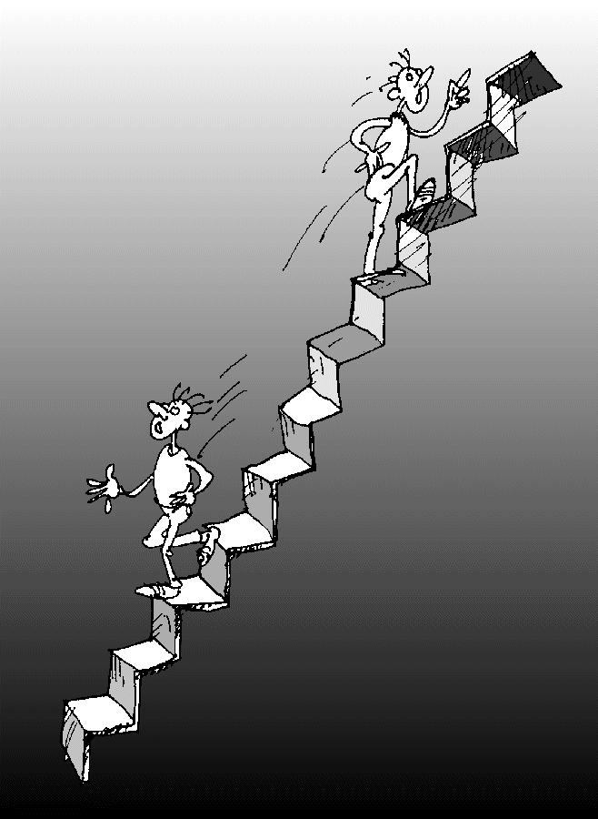 Карикатура: «Вверх по лестнице, ведущей вниз», Юрий Санников
