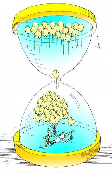 Карикатура: Часы времени счастья, Юрий Санников