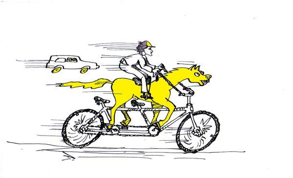 Карикатура: И сколько тут лошадиных сил???, Юрий Санников