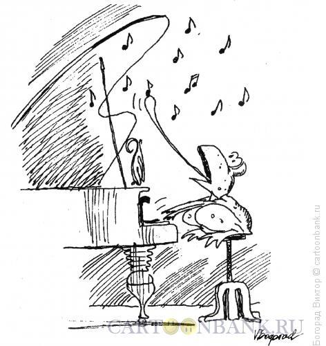 Карикатура: Ноты-мухи, Богорад Виктор