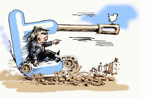 Карикатура: акаунт в твиттере