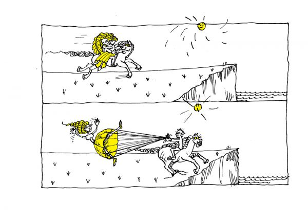 Карикатура: Парашют !!!, Юрий Санников