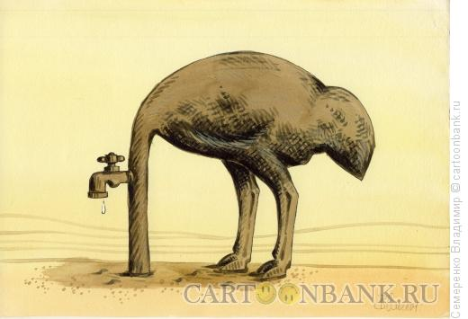 Карикатура: Кран в пустыне, Семеренко Владимир