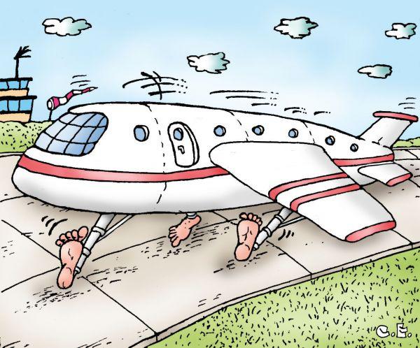 Карикатура: Cамолет босиком, Сергей Ермилов
