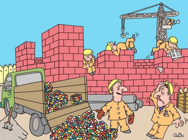 Карикатура: Кирпичи Рубика, Сергей Ермилов