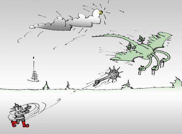 """Карикатура: ПВО или запуск """"Булавы"""", Юрий Санников"""
