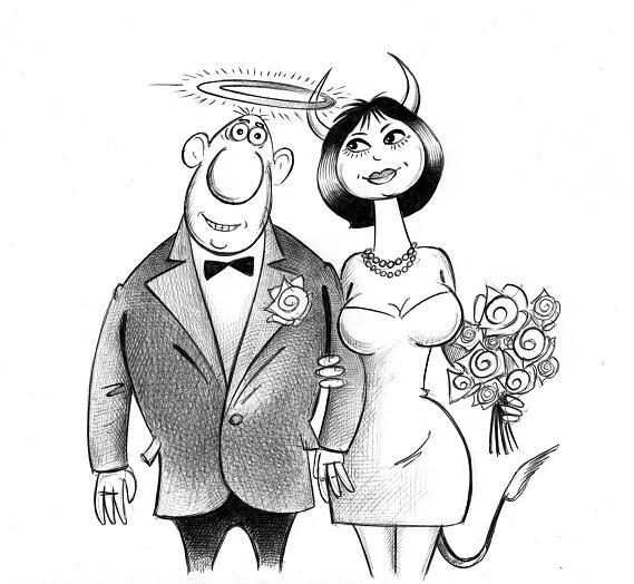 Карикатура: Молодожёны, Сергей Корсун