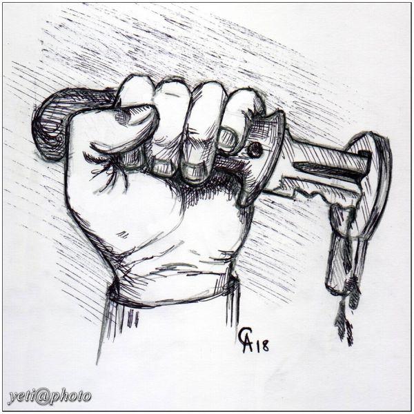 Карикатура: Главное - подобрать правильный ключ!, Йети