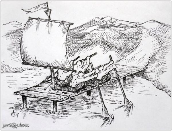 Карикатура: Как козаки остаточно в Европу уплывали, Йети