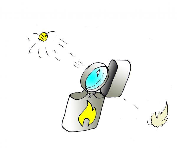 Карикатура: Солнцезажигалка, Юрий Санников